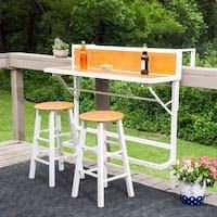 Enjoy meals outside with the Southern Enterprises Madrona 3 Piece Balcony Bistro Set . This adjustable counter height table fits nearly any railing and. Mini Bars, Outdoor Balcony, Outdoor Dining, Balcony Ideas, Rooftop Patio, Balcony Design, Patio Design, Backyard Ideas, Garden Ideas
