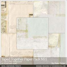 Taped Together Paper Pack No. 01, 12x12, 300 dpi image quality, by Katie Pertiet. only at designerdigitals.com —  #vintage #collage #backgrounds #scrapbook #designerdigitals paper