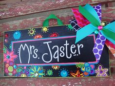 Your classroom door will be the talk of the hallway with this whimsical, colorful name sign! Let me know your favorite colors and I will create something extra special, to coordinate with your classroom theme, school mascot or your personality! Teacher Name Signs, Teacher Gifts, Toy Chest, School Ideas, Fun Stuff, Classroom, Craft Ideas, Names, Crafty