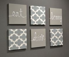 Eat Drink Be Merry Wall Art Pack of 6 Canvas Wall Hangings Hand Painted Fabric Upholstered Dining Room Decor Modern Chic Gray White Moroccan