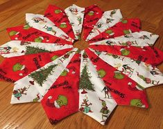 Christmas tree skirt table top mini small the Grinch Who Stole Christmas Whoville quilted Christmas Tree Skirts Patterns, Xmas Tree Skirts, Fabric Christmas Ornaments, Etsy Christmas, Christmas Sewing, Noel Christmas, Christmas Crafts, Crochet Ornaments, Crochet Snowflakes