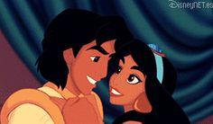 #Aladdin y #Jasmine enamorados en un #gif de #Disney