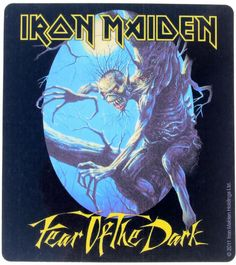 Official Iron Maiden vinyl sticker measuring approx 95mm x 105mm featuring artwork from the 1992 Fear of the Dark album BE QUICK OR BE DEAD