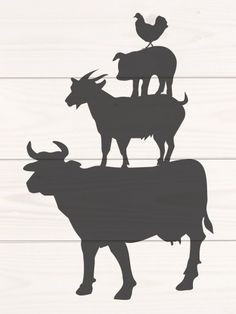 Billedresultat for stacked farm animals Silhouette Clip Art, Animal Silhouette, Silhouette Cameo Projects, Animal Stencil, Stencil Art, Farm Crafts, Rock Crafts, Animal Cutouts, Art Template