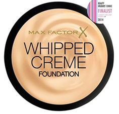 Max Factor Whipped Creme Foundation. Perfect for creating an on trend demi-matte look - gives a fresh, radiant coverage. The whipped, hydrated formula won't dry out your skin. The non-drying formula is oil-free and fragrance-free. It is suitable for sensitive or dry skin. The whipped texture of the foundation won't clog pores.