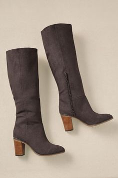 "Brynn Boots - With their clean, classic silhouette, our soft microsuede boots offer timeless style to wear with leggings and jeans, tunics and dresses. Fashioned with a partial side zipper for easy on/off, they're smartly detailed with a 3"" stacked wood heel accented with a gleaming metallic band. Jersey/poly lining and a cushy insole keep feet comfy. Manmade sole. Handsome boots in seasonal neutrals to wear all fall and winter."