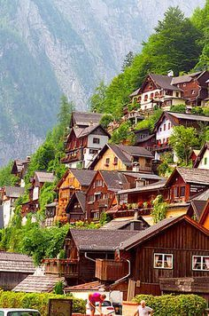 "Hallstatt, Austria - considered to be the oldest still-inhabited village in Europe, is home to just under people, and has evidence of inhabitants since prehistoric times. Sometimes called the ""pearl of Austria,"" Hallstatt is considered to be one of Places Around The World, Oh The Places You'll Go, Travel Around The World, Places To Travel, Travel Destinations, Places To Visit, Around The Worlds, Dream Vacations, Vacation Spots"
