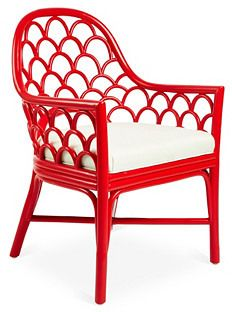 David Francis Furniture Koi Rattan Armchair, Ruby/White Sand