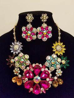 Floral Crystal Statement Necklace Set