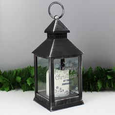 Personalised Christmas Frost Black Lantern, P1007C11, This stunning Christmas Frost Black Light Up Lantern is an ideal way of adding festive ambience to any home this Christmas. Also available in White P1007C10