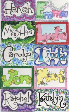 Name tags- possible first day project. Kids write their names fancy, draw an outline around it, then color outside of the outline with a design/pattern. Name tags- possible first day project. Kids write their names Name Tag For School, Back To School Art, Name Art Projects, School Art Projects, Graffiti Designs, Drawing For Kids, Art For Kids, Name Design Art, Name Drawings