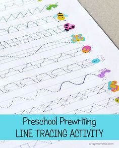 Preschool Prewriting Line Tracing Printable Activity - Bug Theme