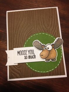 """""""Moose You So Much"""" masculine card using Hero Arts Missing You stamp set and dies. Handmade by Jolene @ JS Paper Studio"""