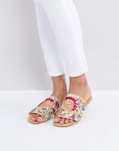 New Look Embroidered Sliders