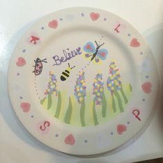 Painted plate at pre fired stage