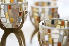 The Vienna Tealight Trio! Mosaic glass cups with metal stands.