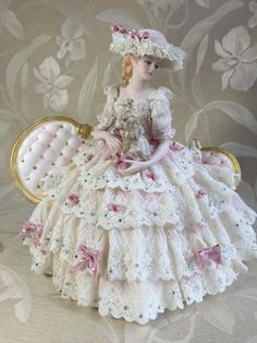 Dresden Lace ~ I had one of these dolls when I was little! Victorian Dolls, Victorian Decor, Victorian Women, Antique Dolls, Vintage Dolls, Dresden Dolls, Dresden Porcelain, Lady, Half Dolls