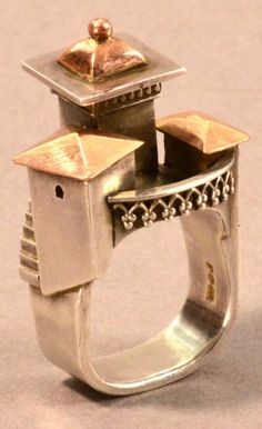 VICKI AMBERY-SMITH (born a hallmarked silver and yellow gold architectural inspired ring, Jewelry Art, Jewelry Rings, Jewelery, Silver Jewelry, Vintage Jewelry, Unusual Rings, Unusual Jewelry, Stylish Jewelry, Silver Ring Designs