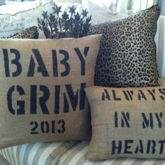 Burlap pillows and black permanent markers! Easy pillows to make with brass stencil  ( 2 & 4 inch ) interlocking stencils make it easy!