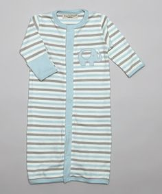 Look what I found on #zulily! Hug Me First Blue Stripe Nathan Organic Convertible Gown by Hug Me First #zulilyfinds