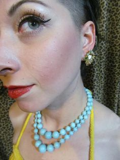 For Charity   60's Baby Blue Beaded Double Strand Necklace by SpeckledRed, $22.00
