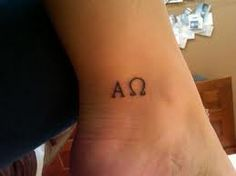 Religious tattoo right there. It reminds you that Jesus is the Alpha and the Omega. The beginning and the end.