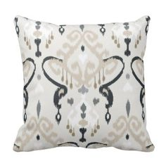 Chic modern beige black white ikat tribal pattern throw pillow  Save 15% on all pillow orders! LAST DAY Use Code: ZAZTAXSAVING