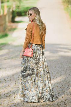 #lookSly Nati Vozza do Glam4You com saia longa estampada
