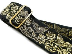 Black Beauty and Gold Butterflies Floral Vine by pailinstraps