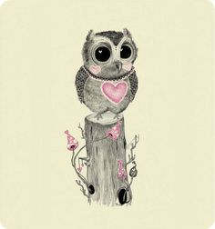 owl with pink heart by Kirbee Lawler