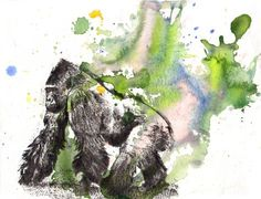 Gorilla Animal Watercolor Painting - Original Watercolor Painting Great Children Kids Wall Art and for Monkey Lover. $40.00, via Etsy.