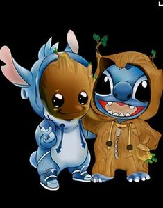 Disney Drawing Stitch and baby Groot cosplay as each other. {Lilo and Stitch, Guardians of the Galaxy} - Disney Stitch, Lilo Y Stitch, Cute Stitch, Kawaii Disney, Disney Art, Cartoon Wallpaper Iphone, Cute Disney Wallpaper, Cute Cartoon Wallpapers, Kawaii Wallpaper