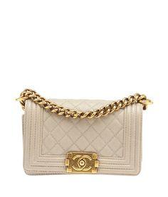 Chanel Le Boy Beige Caviar Quilted Leather Shoulder Bag