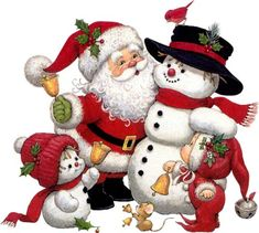 Cute Snowman Santa and Kid Clipart by dona Merry Christmas Gif, Merry Christmas Pictures, Christmas Scenes, Christmas Clipart, Christmas Printables, Christmas Snowman, Vintage Christmas, Christmas Holidays, Christmas Ornaments