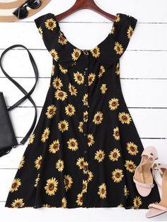Off Shoulder Button Up Sunflower Dress - BLACK S