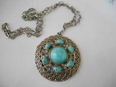 Vintage 70's faux Turquoise Pendent Necklace by houuseofwren,