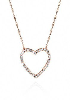 10K Womens Ladies White Gold Diamond Love Crown Top Heart Pendant Charm .33 Ct