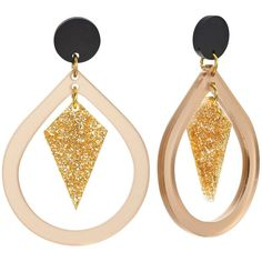 Toolally Pear And Diamond Shaped Drop Earrings, Nude/Glitter ($53) ❤ liked on Polyvore featuring jewelry, earrings, pear earrings, vermeil jewelry, pear drop earrings, glitter earrings and retro jewelry