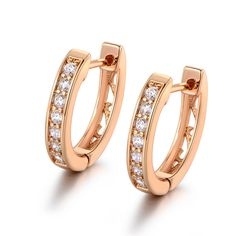 MASOP Huggies Hoop Earrings Hinged 17MM Diameter Zircon Jewelry Gold Tone -- Awesome products selected by Anna Churchill