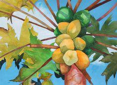 New Painting.....Art Original Watercolor Painting of Hawaiian PAPAYA TREE