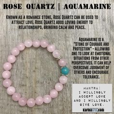 """Aquamarine is a """"Stone of Courage and Protection"""". Used often with the Throat Chakra, Aquamarine can be used to promote verbal self-expression. It is often used to enhance spiritual communication and clear communication blocks. Aquamarine is also used to align all of the chakras and enhance the aura. The metaphysical properties of Aquamarine make it an excellent stone for the spiritual initiate.....Yoga Bracelets. Chakra Charm Stretch Mala Jewelry.  Mens Womens.  Rose Quartz. Aquamarine."""
