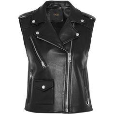 Maje Leather vest (€470) ❤ liked on Polyvore featuring outerwear, vests, jackets, coletes, black, vest waistcoat, leather waistcoat, genuine leather vest, leather vest and maje