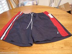 Men's swim trunks shorts Nautica surf M mesh inside navy red TC2114 CLR4NV NEW  1