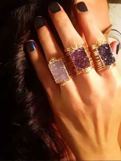 Druzy Rectangle Wrap Rings make everything better!! ❤  www.kamiart.com