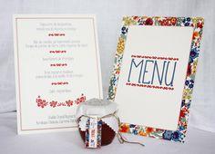 menu mariage - liberty coloré - papeterie fleur - rouge, bleu, jaune, vert