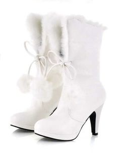 SHOES 3 Faux Fur 3 Inch High Heel Boot White 7572 |White Heels|
