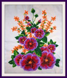 Cross stitched flowers embroidery cross stitch by LastivkaUA
