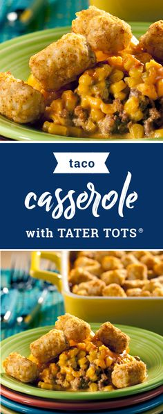Taco Casserole with TATER TOTS® – Meet the south-of-the-border cousin of your favorite potato casserole—Taco Casserole with TATER TOTS®! Made with taco seasoning and topped with sour cream and salsa, try out this recipe for your dinner table this week. Casserole Dishes, Casserole Recipes, Crockpot Recipes, Cooking Recipes, Tater Tot Taco Casserole, Easy Recipes, Corn Casserole, Beef Dishes, Food Dishes