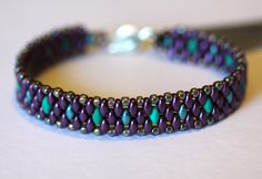 Items similar to Peyote Beadweaving Bracelet, Purple and Teal Superduo Bead Bracelet, Cuff,Jewelry, Amy Johnson Designs on Etsy Beaded Cuff Bracelet, Cuff Jewelry, Beaded Bracelet Patterns, Seed Bead Bracelets, Seed Bead Jewelry, Bead Jewellery, Jewelry Patterns, Beaded Jewelry, Beaded Necklace