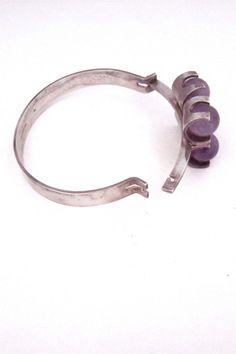 Elis Kauppi for Kupittaan Kulta Finland sterling silver & amethyst spheres bracelet